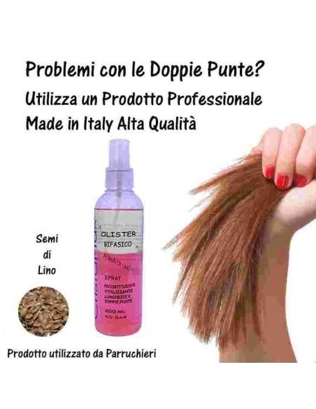 Olio Bifasico Per Capelli Professionale Spray Ai Semi di Lino Ricostituente Vitalizzante 200Ml No Gas